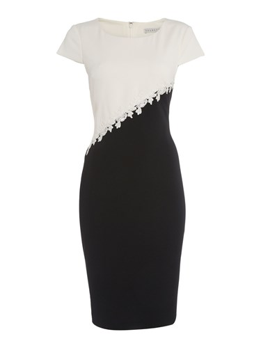 Shubette Contrast Dress With Embroidery Detail Black White 6ST2XfwS