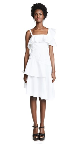 Kendall + Kylie One Shoulder Flutter Dress Bright White PgIC4dIZ2