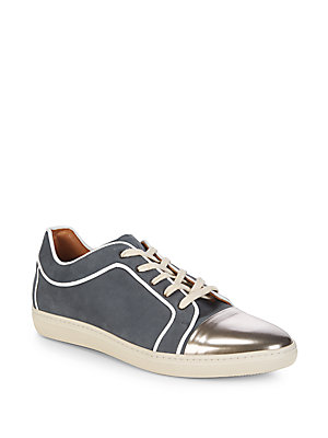 Mezlan Metallic Leather Sneakers Silver VDGvqJ8