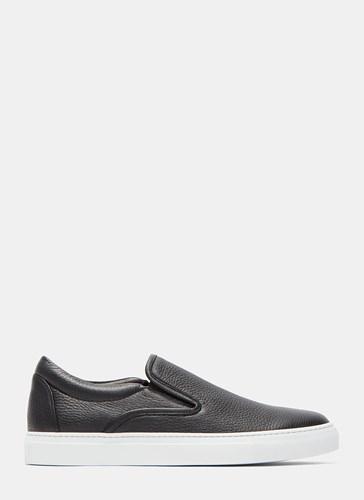 Aiezen Slip On Grained Leather Sneakers Black mOMhsxf