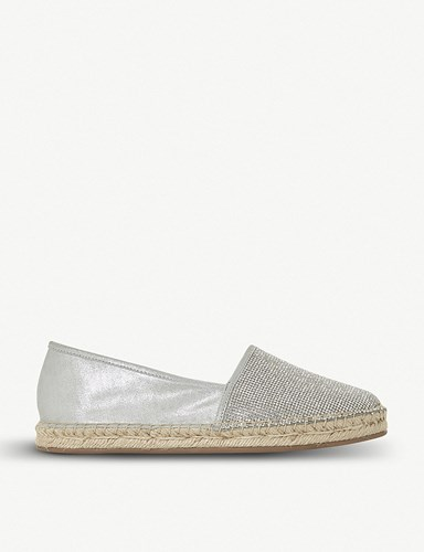 Dune Graci Diamante Leather Espadrilles Silver Metallic xwpTO