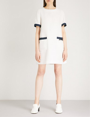 Max Mara Nepeta Contrast Panel Cotton Dress White 6VcBKViZ