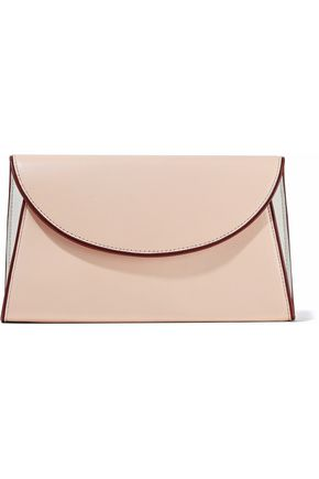 Diane von Furstenberg Mirrored Leather Envelope Clutch Blush hColLe