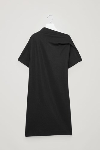 COS Draped Neck Jersey Dress Black 0xbalTS