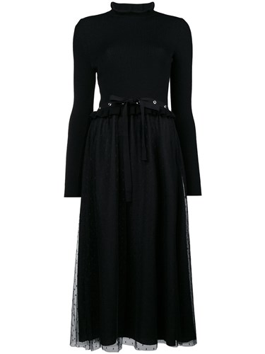RED Valentino Plumetti Midi Dress Black gxiOwP