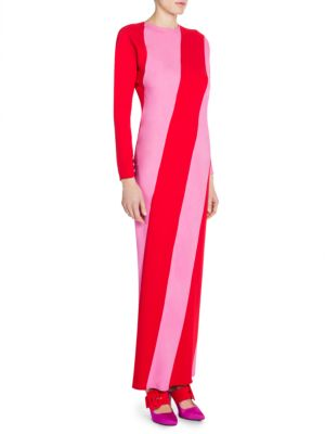 Attico Satin Striped Gown Pink fZuY90JW