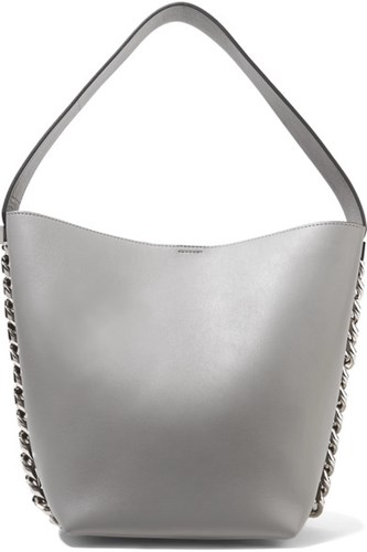 Givenchy Infinity Chain Trimmed Leather Shoulder Bag Gray t5Ufqc5c7H