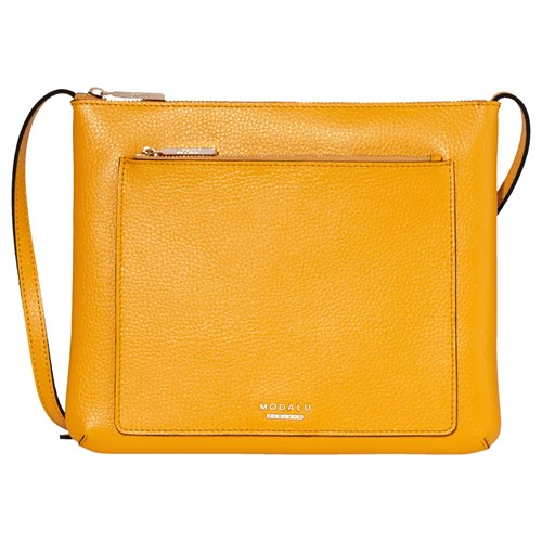 Modalu Lulu Leather Cross Body Bag Yellow VnamMY05LR