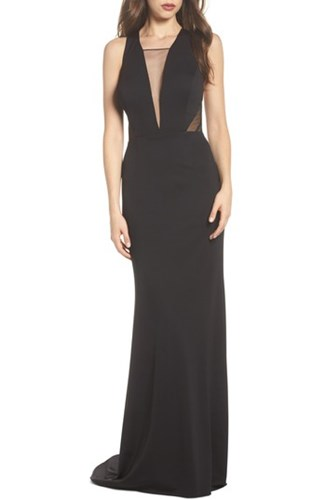 Adrianna Papell Lola Crossback Jersey Halter Gown Black wn5xkavwM6