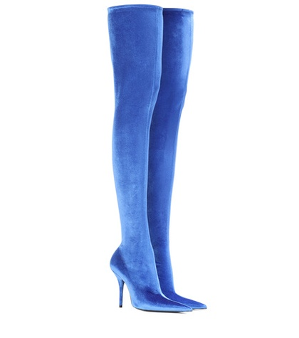 Balenciaga Knife Velvet Over The Knee Boots Blue txFYk3GBg