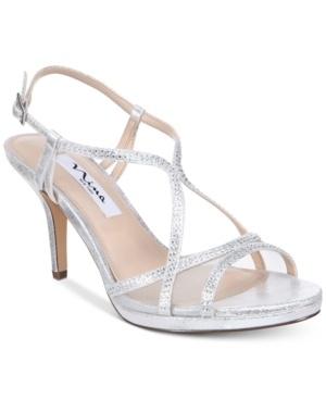 Nina Blossom Strappy Embellished Evening Sandals Women's Shoes Silver Metallic ge8qD