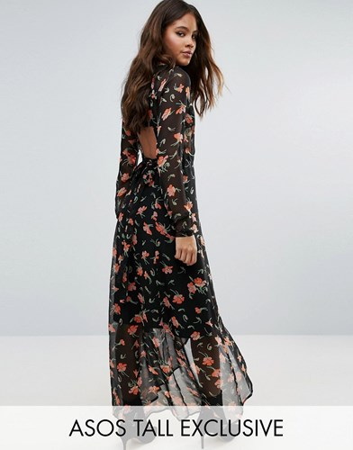 Asos Tall Maxi Dress In Pretty Floral With Open Back Multi Blue fsKg3HYUn