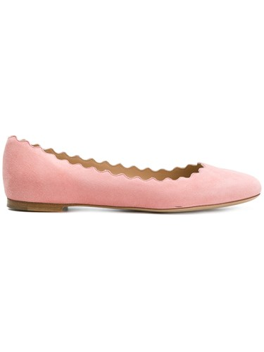 And Opening Scalloped Ballerina Pink Chloé Flats Purple 506aXWqw