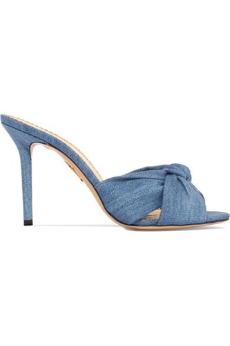 Charlotte Olympia Lola Knotted Denim Mules Light Denim cCpoZUUbIJ