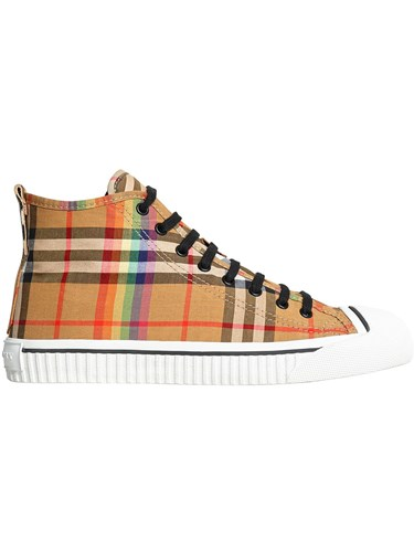 Burberry Rainbow Vintage Check High Top Sneakers Yellow And Orange 4Uxtm4