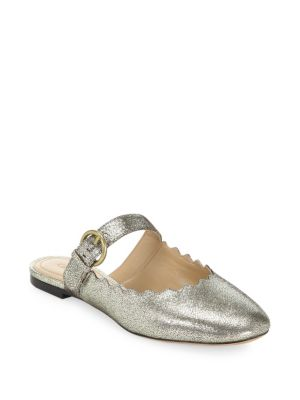 Chloé Metallic Leather Mules Silver ZokdVmwf