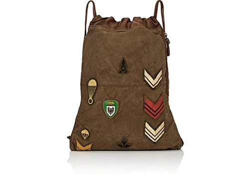 Campomaggi Canvas And Leather Drawstring Backpack Green NCA6cQeL