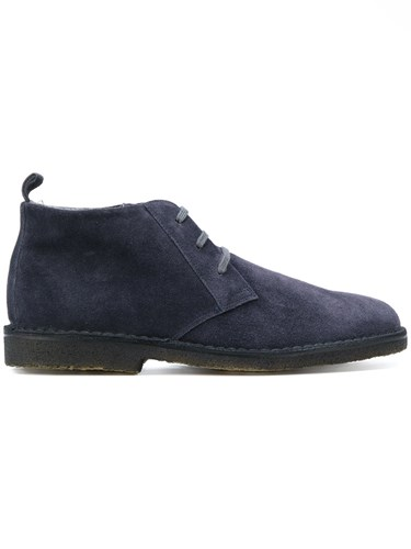 Corneliani Lace Up Mid Top Brogues Cotton Suede Rubber 9.5 Blue OQw1dJ1