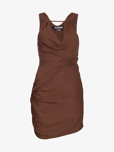 Jacquemus Sleeveless Draped Mini Dress Brown 9m1CaFRo63