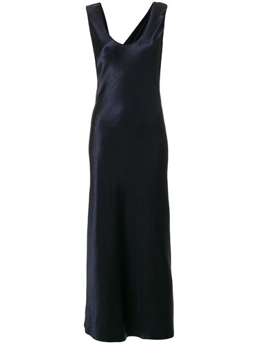 Theory Fitted Flared Maxi Dress Blue wRJtH3