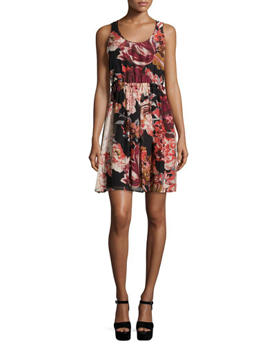 Silk Multicolor Sleeveless Floral Floral Multi Elizabeth and Dress James Mini qx0BqTaIw