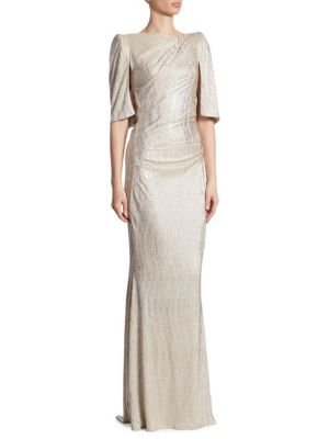 Talbot Runhof Metallic Stretch Cloque Gown Gold hV654p8R