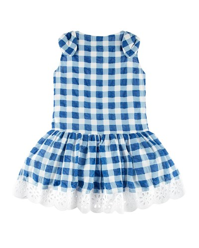 Pili Carrera Gingham Dress W Flower Hem Blue Size 4 10 JCCUxWHau