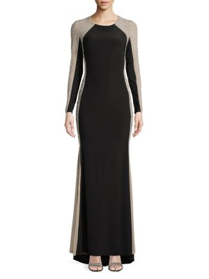 Xscape Evenings Beaded Long Sleeve Gown Black Nude APZ9szy