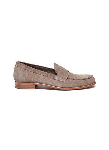 ANTONIO MAURIZI Suede Penny Loafers Grey TVadYbmg