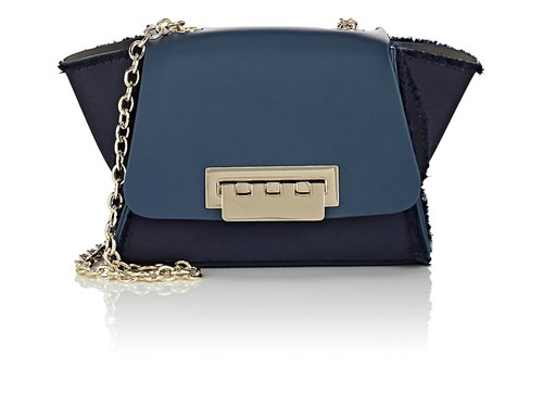 Zac Posen Eartha Iconic Satin And Leather Mini Crossbody Bag Blue hxlqArI0X