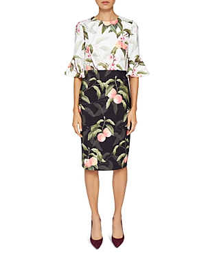Ted Baker Areea Peach Blossom Ruffle Dress Black Dwuz4zw5