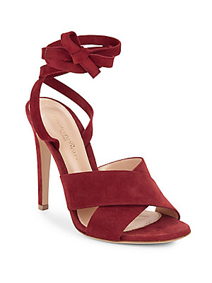 Gianvito Rossi Crisscross Leather Ankle Strap Sandals Red 3yEkTgUk
