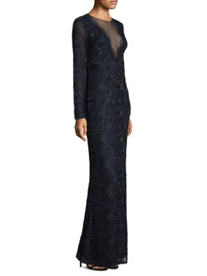 Aidan Mattox Long Sleeve Beaded Long Dress Twilight Black BeEBJA