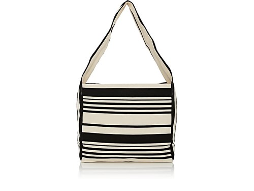 Barneys New York Striped Canvas Hobo Bag Black VRjES6taFi