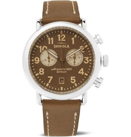 The Runwell Chronograph 41Mm Stainless Steel And Leather Watch Brown