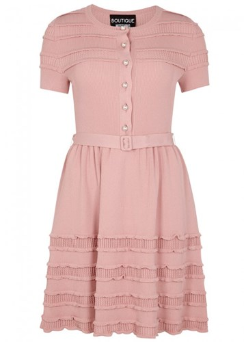 Boutique Moschino Pink Ruffle Trimmed Stretch Knit Dress uD8RjlOJM