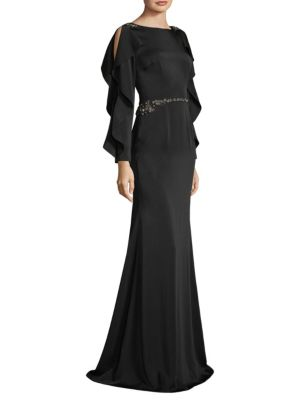 David Meister Beaded Ruffle Gown Black ymbsE