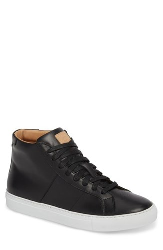 GREATS Royale High Top Sneaker Black Leather dXMopwG