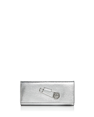 Versus By Versace Lion's Head Pin Foldover Clutch Silver Silver wTVog