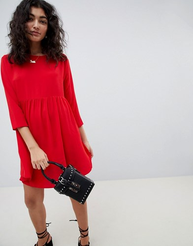 Asos Design Long Sleeve Smock Mini Dress Red mgnLJPY