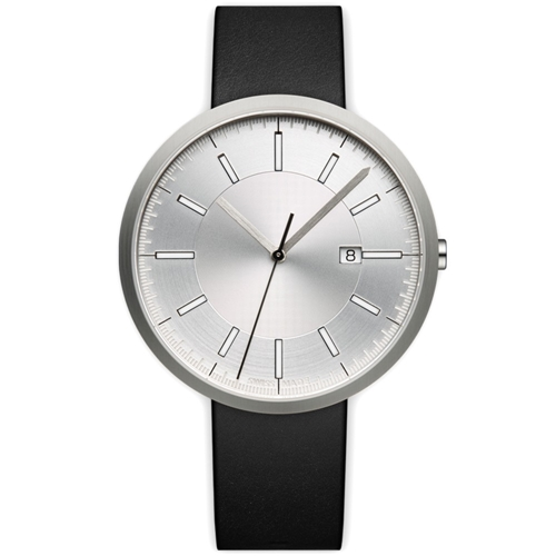 M40 Calendar Wristwatch Brushed Steel And Black Leather
