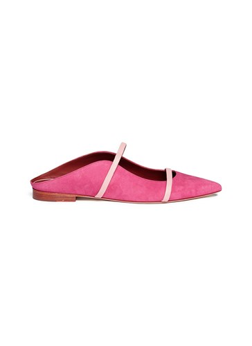 Malone Souliers 'Maureen' Leather Strap Suede Flats Pink QD9GNS