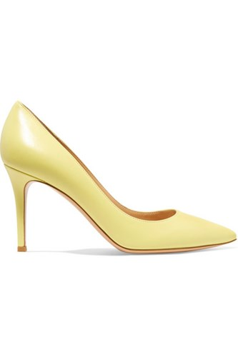 Gianvito Rossi 85 Leather Pumps Pastel Yellow Gbp T0Rgh