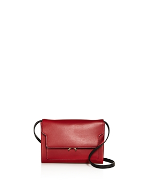 Marni Trunk Pochette Color Block Leather Crossbody Burgundy Gold 6pnYBYbSW