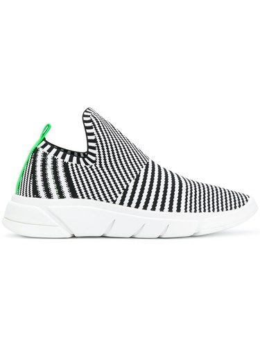 Kendall+Kylie Striped Knitted Sneakers Black qzYAMGYXQX