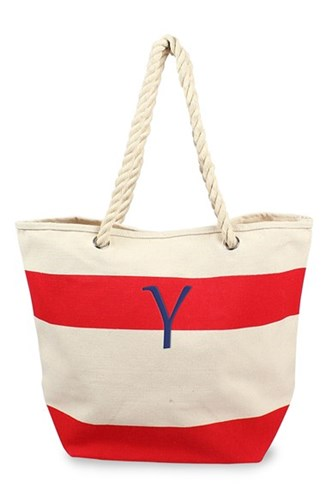Cathy's Concepts Personalized Stripe Canvas Tote Red Red Y 30kvDu