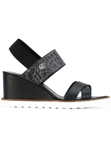 Armani Jeans Wedge Sandals Women Cotton Polyurethane Rubber 38 Black e90be