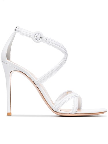 Gianvito Rossi White 105 Frill Leather Sandals Tak3L