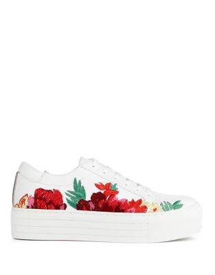 Kenneth Cole Abbey 2 Floral Leather Sneakers White 32cv9xD