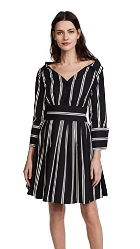 Alice + Olivia Iliana Party Dress Mod Pinstripe OWBxCx
